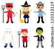 Halloween kids set - stock vector