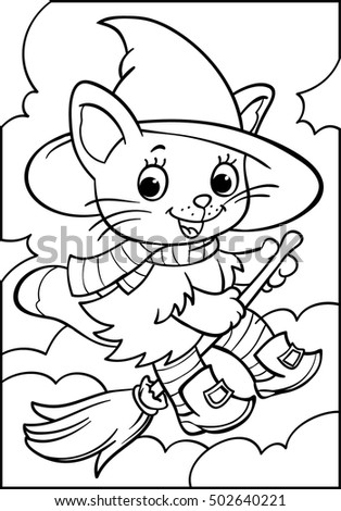 Halloween.Kitten on a broomstick. Witch. Cartoon character. Coloring. Vector illustration on white background.