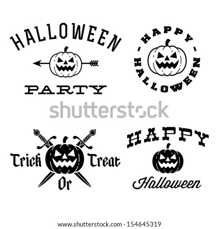 halloween labels with pumpkin, arrow, knife - stock vector