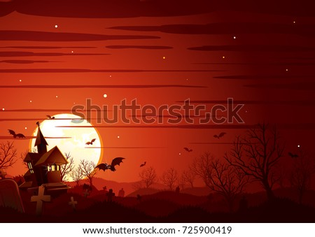 Halloween Landscape. Haunted House on Graveyard, Midnight Bare Tree Forest