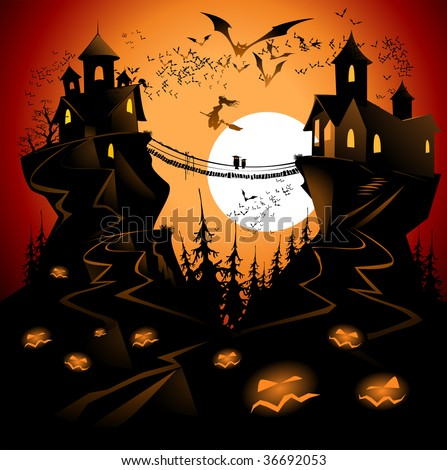 Halloween landscape with bridge and moon. - stock vector
