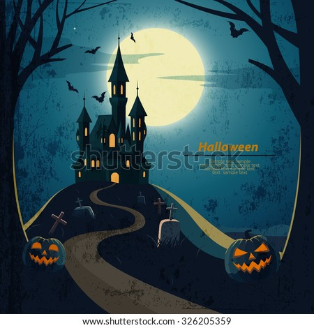 Halloween landscape  with castle and cemetery. - stock vector