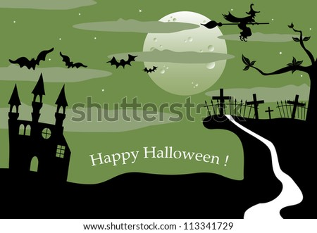 Halloween landscape with full moon, ancient castle, bats, witch flying on her broom and a creepy cemetery on a small hill. Halloween theme - stock vector