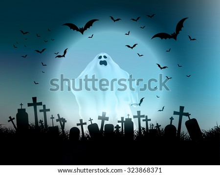 Halloween landscape with ghostly figure and cemetery - stock vector