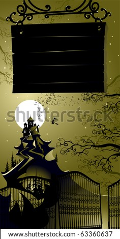 Halloween landscape with signboard - stock vector