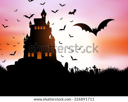 Halloween landscape with spooky castle - stock vector