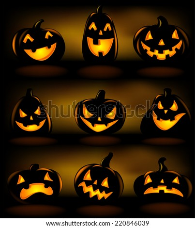 Halloween lanterns, vector illustration.  - stock vector