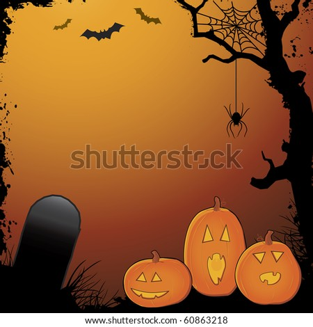 Halloween layout with pumpkins, grunge textures, tombstone, bats and spider