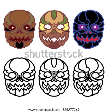 Halloween masks. Monster Masks Set.
