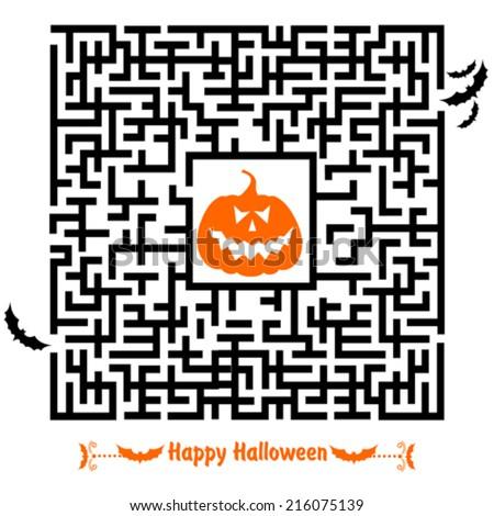 Halloween Maze for Kids. Happy Halloween.  - stock vector