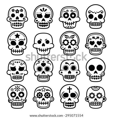 halloween mexican sugar skull dia de los muertos cartoon icons - Mexican Halloween Skulls