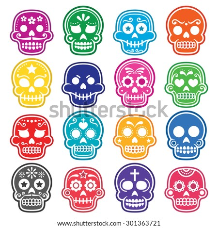 Halloween, Mexican sugar skull, Dia de los Muertos - cartoon icons  - stock vector