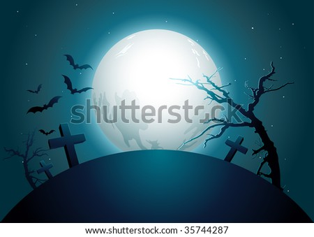 halloween midnight. vector illustration. Elements are layered separately in vector file.