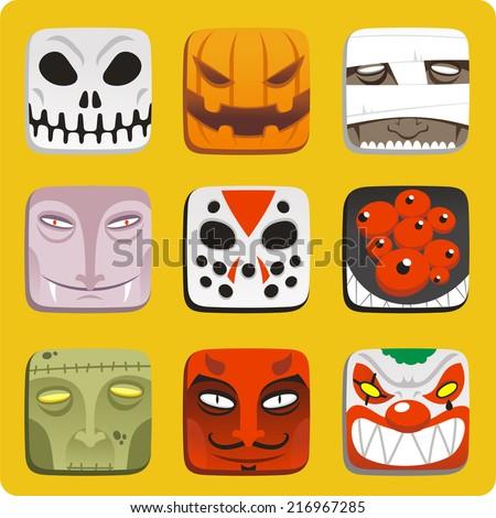 halloween monster cartoon icon illustrations - stock vector