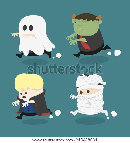 Halloween monster costume - stock vector