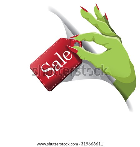 Halloween monster hand with sale tag page curl EPS 10 vector royalty free stock illustration for greeting card, ad, promotion, poster, flier, blog, article, social media, marketing - stock vector