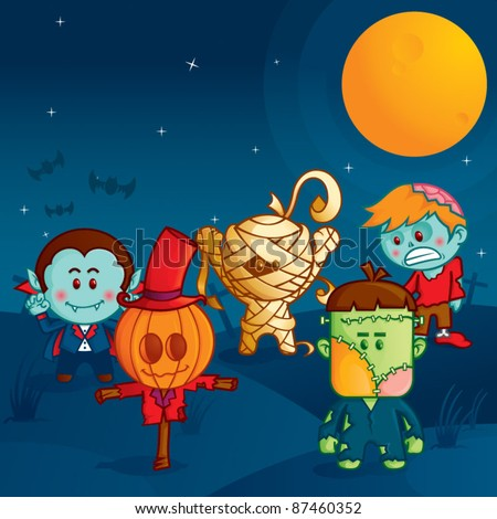 halloween monster parade, the funny monsters ready to attack - stock vector