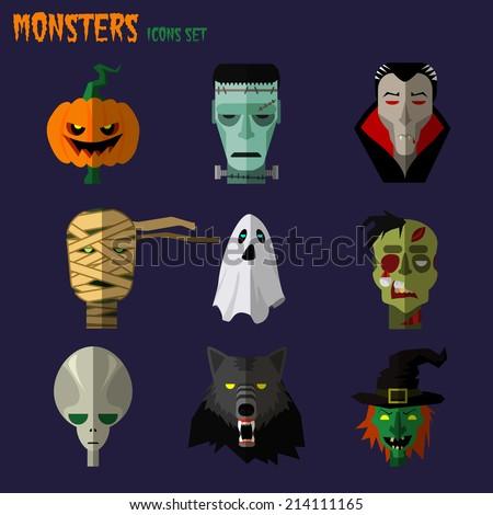 Halloween monster set of icons pumpkin, ghost Dracula zombi werewolf Frankenstein's monster alien mummy - stock vector