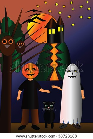 Halloween monsters and haunted house - vector illustration.