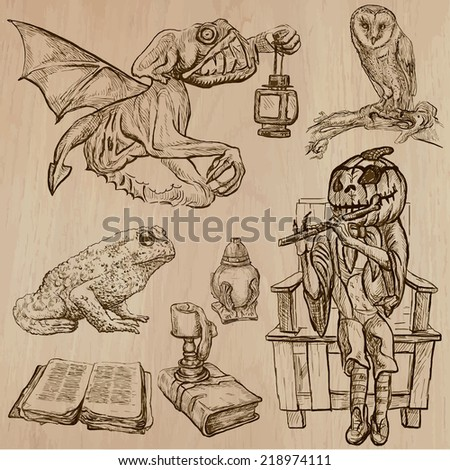 Halloween (Monsters, Magic and Fairy Tales) - Collection (no.17) of an hand drawn illustrations. Description: Each drawing comprise of three layer of outlines, the colored background is isolated. - stock vector