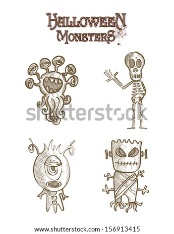 Halloween monsters spooky sketch style creatures cartoons set. EPS10 Vector file organized in layers for easy editing. - stock vector