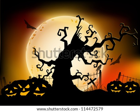 Halloween moon light night background with dead tree branches and pumpkins. EPS 10. - stock vector