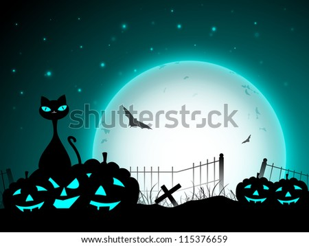 Halloween moon light night background with scary pumpkins, flying bats  and black cat. EPS 10. - stock vector