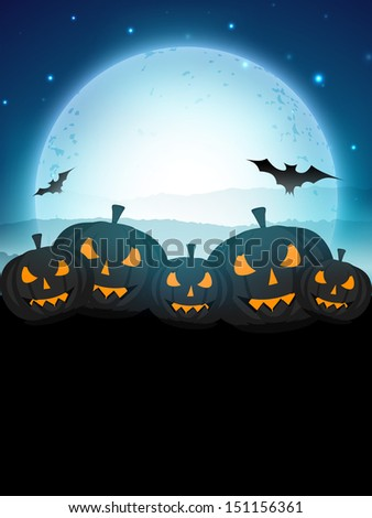 Halloween moonlight night background with scary pumpkins and flying bats, can be use as flyer, banner or poster for trick or treat party.