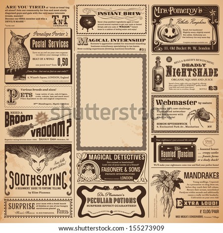 Halloween newspaper with classifieds and copyspace for your own text - perfect as a greeting card or party invitation - stock vector