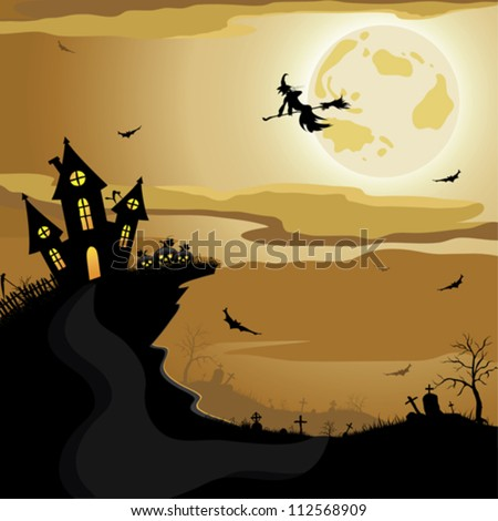 Halloween night background - stock vector