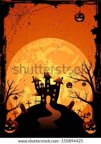 Halloween night background with creepy castle and pumpkins, illustration - stock vector