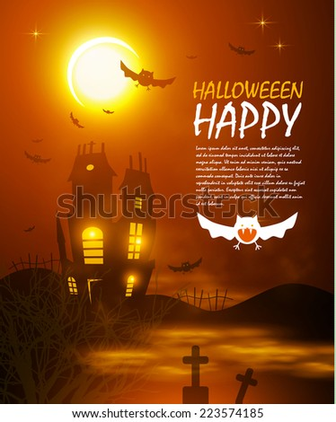 Halloween night background with creepy castle & bats. Vector illustration  - stock vector