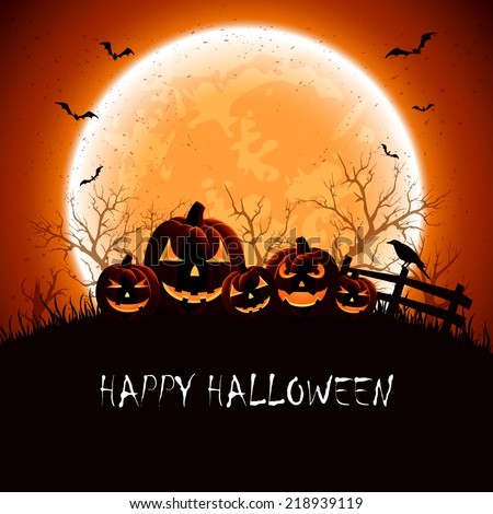 Halloween night background with full Moon and pumpkins, illustration. - stock vector