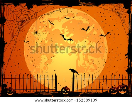 Halloween night background with full Moon, pumpkins and crow, illustration - stock vector