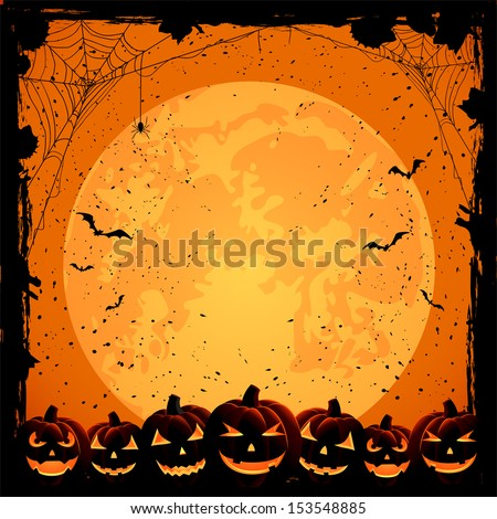 Halloween night background with full Moon, pumpkins and spiders, illustration - stock vector