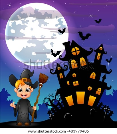 Halloween night background with little boy witch holding broomstick and scary castle in graveyard.Vector illustration