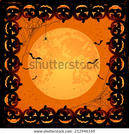 Halloween night background with Moon, spiders and frame from Jack O' Lanterns, illustration. - stock vector