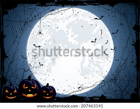 Halloween night background with Moon, spiders and Jack O' Lanterns, illustration. - stock vector