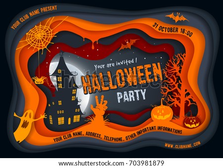 Halloween night background with pumpkin, haunted house and full moon. Paper art carving style. Flyer or invitation template for Halloween party. Vector illustration.