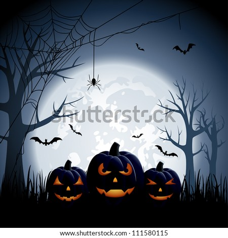 Halloween night background with pumpkins, illustration - stock vector