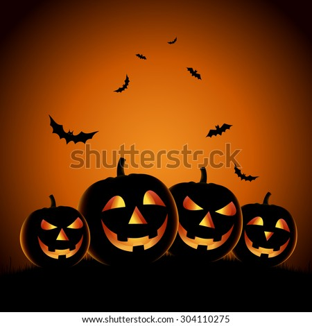 Halloween night background with pumpkins template - stock vector