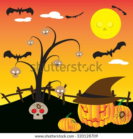 Halloween night background with skull, tree, bat and pumpkin