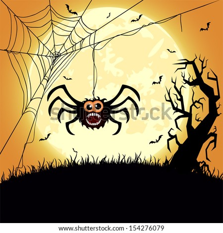 Halloween night background with spider, tree and Moon, illustration - stock vector