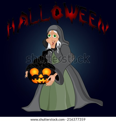 Halloween night background with  witch and pumpkins.