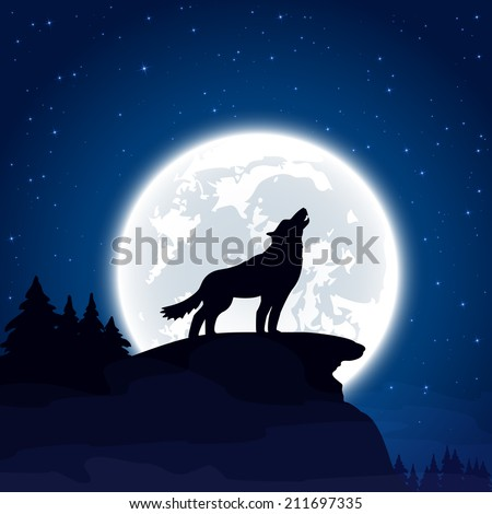 Halloween night background with wolf and Moon, illustration. - stock vector