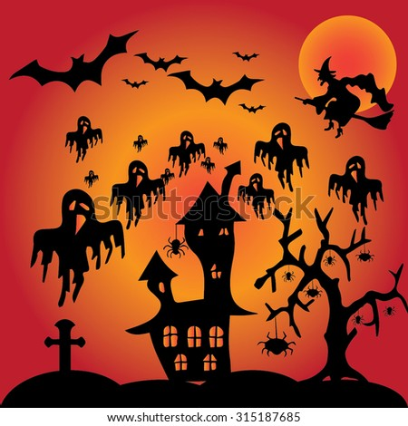 Halloween night, black castle on a moon background, illustration. - stock vector
