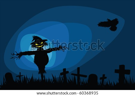 Halloween night illustrations with creepy scarecrow in graveyard. - stock vector