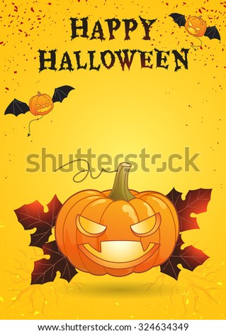 Halloween night party bright color poster eat drink and be scary illustration in vector