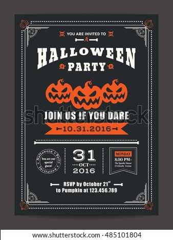 Halloween night party scary pumpkins design stock vector 485101804 halloween night party with scary pumpkins design background for invitation card poster flyer stopboris Gallery