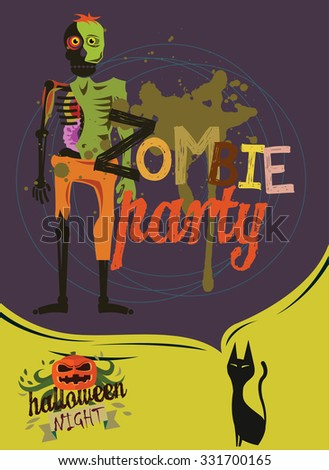 Halloween night poster. Zombie party